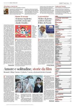 17.10.2017 CORRIERE DEL VENETO_MICHELE GAZICH IN SCENA TRA PAROLE E MUSICA